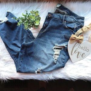 Torrid Girlfriend Distressed Stretch Denim Jeans